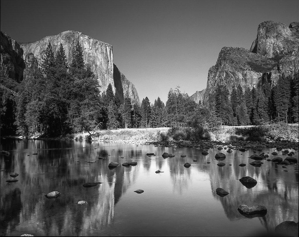 Yosemite Valley Reflection B&W